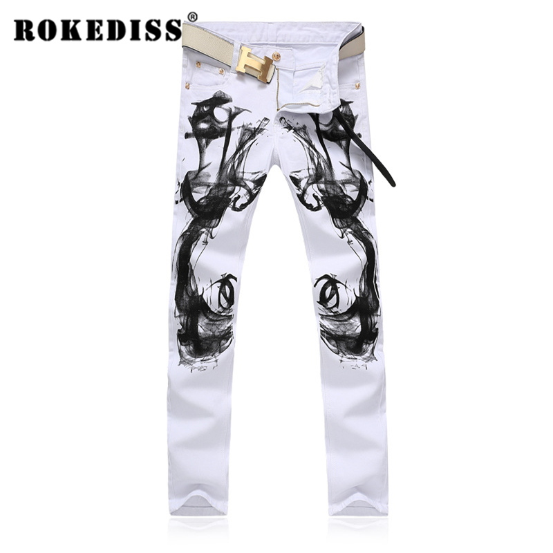 Skinny jeans men Men s clothing Flowers and birds printing jeans Slim Was thin white Elasticity