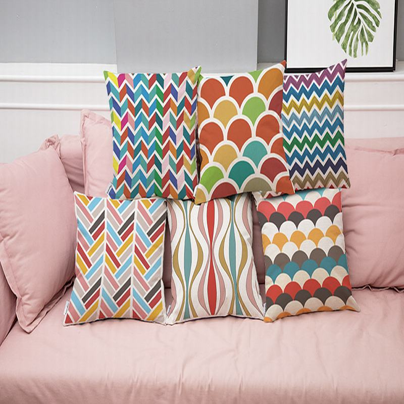 Style; In Personalized Geometric Color Flower Pillow Set Blue Black Pink Brown Moon Decoration Home Sofa Cushion Cover 45*45 Polyester Fashionable
