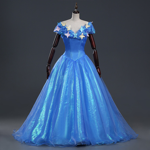 Anime Princess Cinderella Cosplay Costume For Adult Blue Long Dress ...