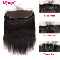 "ALIPOP Brazilian Lace Frontal Closure With Baby Hair Remy Straight Hair 8""-24"" Pre Plucked Natural Hairline 100% Human Hair"