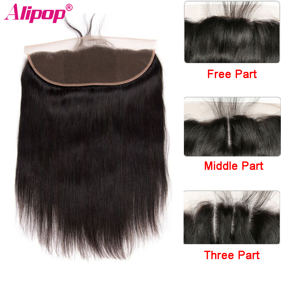 "ALIPOP Brasiliansk Lace Frontal Closure Med Baby Hair Remy Straight Hair 8 ""-24"" Pre Plucked Natural Hairline 100% Human Hair"