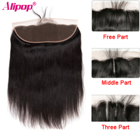 ALIPOP Brazilian Lace Frontal Closure With Baby Hair Remy Straight Hair 8 24 Pre Plucked Natural Hairline 100% Human Hair