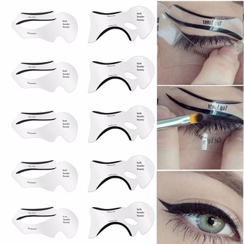 10pcs Eyeliner Stencil Cat Eye Fish Tail Double Wing Eyeliner Stencil Models Template Shaping Tools Eyebrows Template Card DIY 1