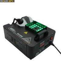 LED fog machine 1500W RGB color 3 in1 12*3w led lamp led smoke machine dmx 512 controller 8 minutes heater