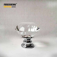 Freeshipping 1pcs 30mm Clear Diamond Shape Crystal Glass Pull Handle Cupboard Cabinet Drawer Door Furniture Knob