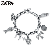 ZABRA 925 Sterling Silver Exquisite Vintage Charm Bracelet for Women Men Cool Cow Bird Fish Virgin Mary Punk Fashion Jewelry