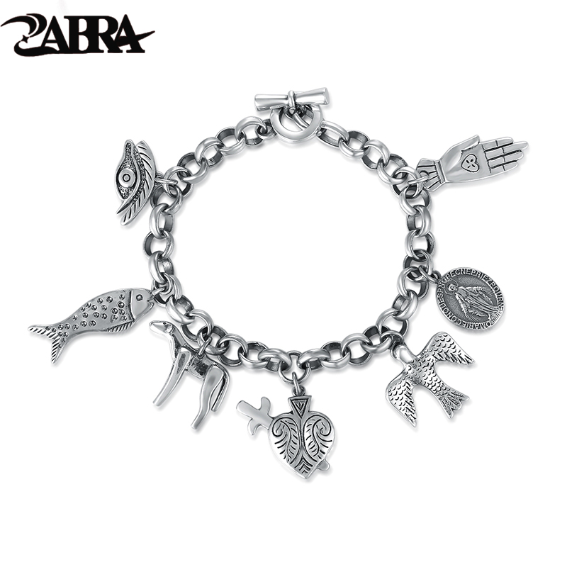 ZABRA Exquisite Vintage Charm Bracelet for Women Men Cool Cow Bird Fish Virgin Mary Punk Fashion 925 Sterling Silver Men Jewelry