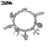 ZABRA Exquisite Vintage Charm Bracelet for Women Men Cool Cow Bird Fish Virgin Mary Punk Fashion 925 Sterling Silver Men Jewelry