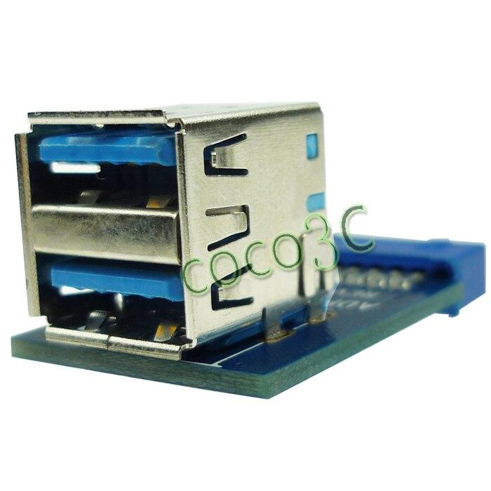 Divstāvu Tpye USB 3.0 Hub 19pin USB 3.0 galvene uz Dual USB3.0 A portu pārveidotāja kartes USB3.0 adapteri