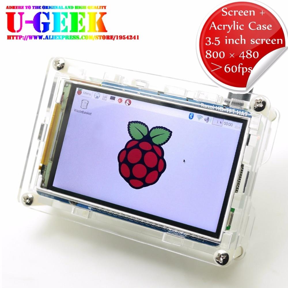 UGEEK Framboise Pi Haute PPI 3.5 pouces 800*480 TFT Écran + Acrylique étui Pour Raspberry Pi 3B 3B + 2B B + | Soutien IR | Kali