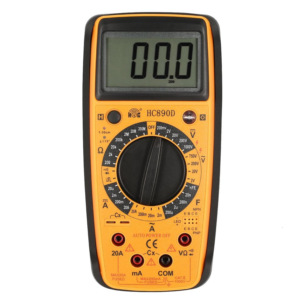 HC890D Digital Multimeter AC DC Volt Amp Ohm Capacitance Diode hFE Infrared Tester Meter Continuity testing 1999 Count Brand New цена