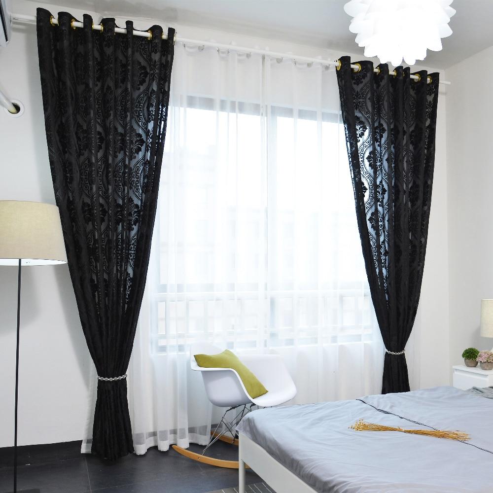 Latest Elegant Black Flocking Solid Color Curtain for Bedroom Shade ...