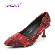 Suede Thin Heels High heels pumps women shoes 2019 Spring Autumn shoes women Shallow Fashion wild Tassel Pointed Party shoes недорго, оригинальная цена