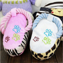 Soft Plush Slipper Design Pet Dog Sound Toy Cotton Rope Paw Print Puppy Chew Play Squeaky Toys