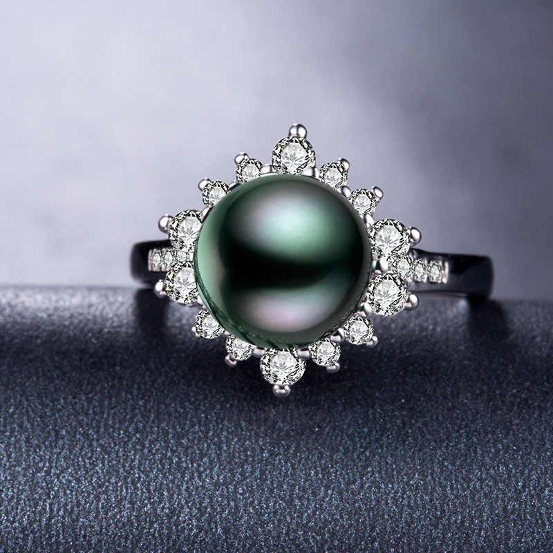 หรูหราแหวนเงินAAAAเพทายสีดำมุกแหวนตาฮิมุกสไตล์แหวนแฟชั่นเครื่องประดับแหวนมุกสำหรับผู้หญิง