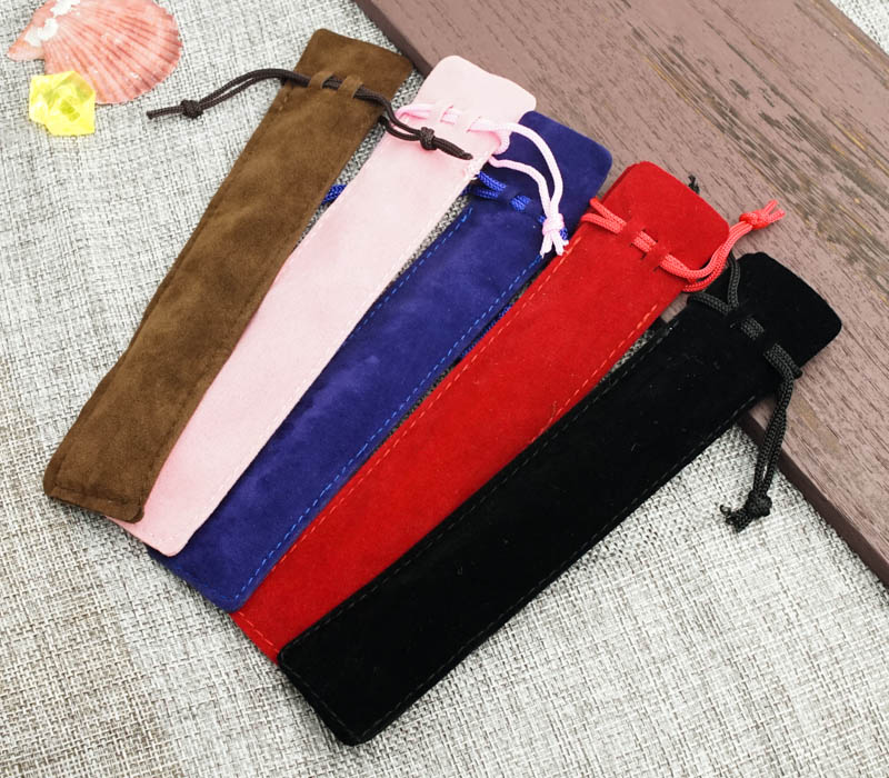 Pen Gift Pouch,3.5*17cm Black Velvet Pen Bag Small Drawstring Bag Velvet Gift Bags Wholesale, For Pen