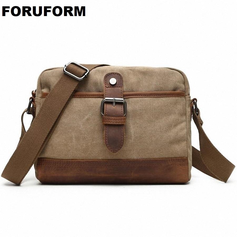 Vintage Men's Messenger Bags Canvas Shoulder Bag Fashion Men Business Casual Crossbody Bag Solid Travel Handbag LI-1831