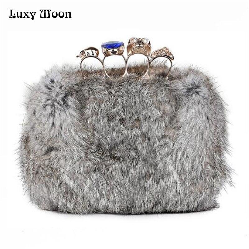 2017 Skull knuckle anillos bolsos de tarde de Invierno bolsas de Piel de conejo