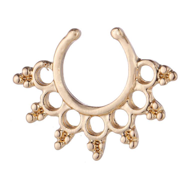 Fake Septum ไทเทเนียมแหวนจมูกเจาะสีทองเครื่องประดับคลิป Hoop ผู้หญิง Septum คลิปของขวัญ
