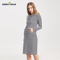 Green Home Hooded Maternity Dresses Winter Thicken Tight For Women Casual Pregnancy Clothes Striped Nursing Dress