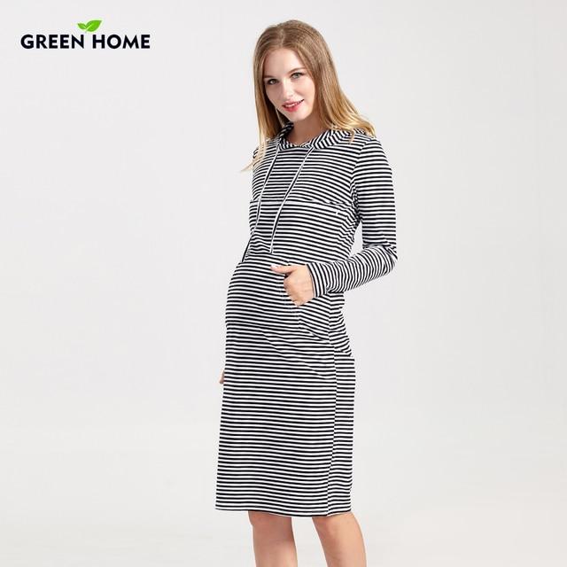 edb505b95 Casa verde con capucha vestidos de maternidad invierno espesar apretado para  las mujeres Casual embarazo ropa
