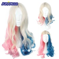 Suicide Squad Harley Quinn Cosplay Adult Women Blended Color Central Parting Curly Hair Costume Accessories 3 Types for Choice