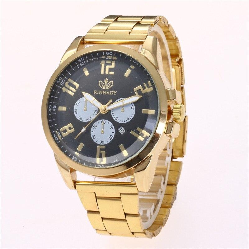 Geneva Calendars Double Scale Dials Gold Stainless Steel Straps Men Luxury Business Quartz Watch Montre Homme Horloge Megir N43