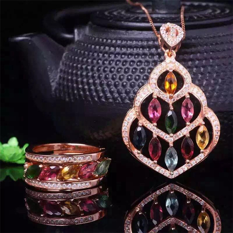 Natural tourmaline jewelry wholesale 925 sterling silver jewelry silver pendants + ring jewelry pieces of two wholesale wholesale natural powder tourmaline suite 925 inlaid sterling silver pendant ring jewelry two pieces