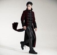 Мода готический Панк RAVE Streampunk мужские длинная куртка пальто с капюшоном двух цветов, черный и красный Y401
