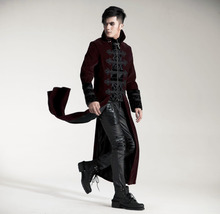 Fashion Gothic Punk RAVE Streampunk Mens Long Jacket Coat Hoodie two color black and red Y401