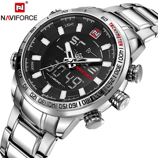 35a156741bb NAVIFORCE Militar Esporte Relógios Homens de Luxo Da Marca de Quartzo  Analógico Masculino Relógio de Prata