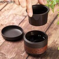 Single person easy to carry purple sand ceramic quick passenger cup a pot a cup of tea travel travel Tea set tea set|Teaware Sets| |  -