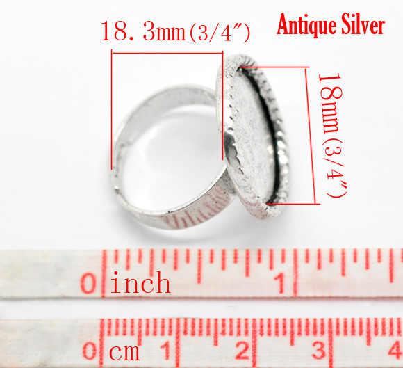 """DoreenBeads In lega di Zinco Anelli Registrabili Rotonda Argento Antico di Colore Cabochon Impostazioni (Misura 18mm) 18.3 millimetri (6/8 """") (US) 1 Pezzo"""