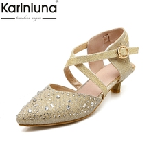 karinluna large size 34-43 pointed toe bling upper women shoes woman elegant comfotable summer bride wedding sandals woman(China)