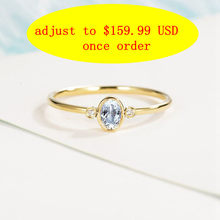 Solid 14k Yellow Gold Ring 4x6mm Oval Cut Natural Aquamarine Diamonds Women Engagement Wedding Ring Trendy Fine Jewelry