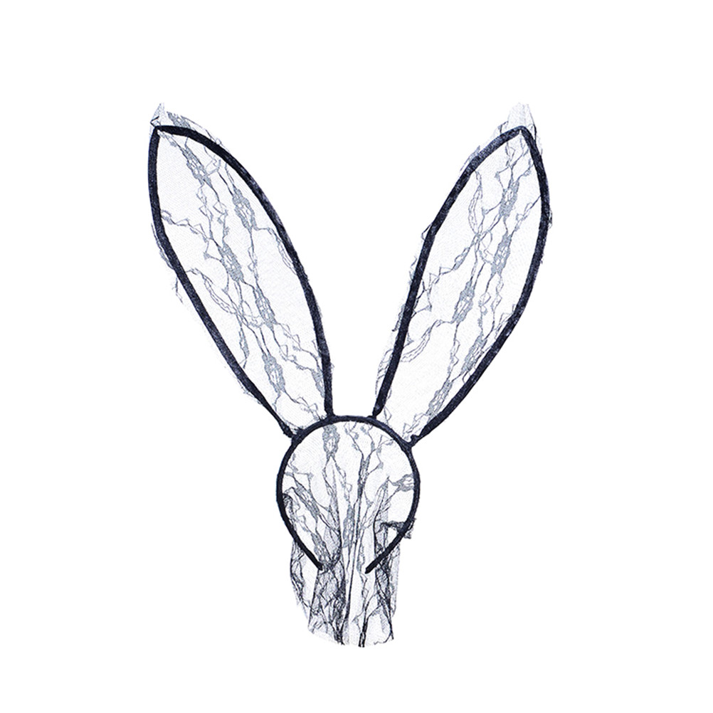 Lace Rabbit Bunny Ears Veil Black Eye Mask Party Head Wear Party Masks For Girl Women