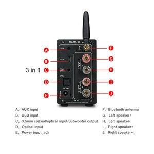 Image 4 - SMSL AD18 HIFI amplificateur Audio stéréo Bluetooth Apt X USB DAC amplificateur lecteur DSP pleine puissance numérique amplificador 2.1 pour haut parleur