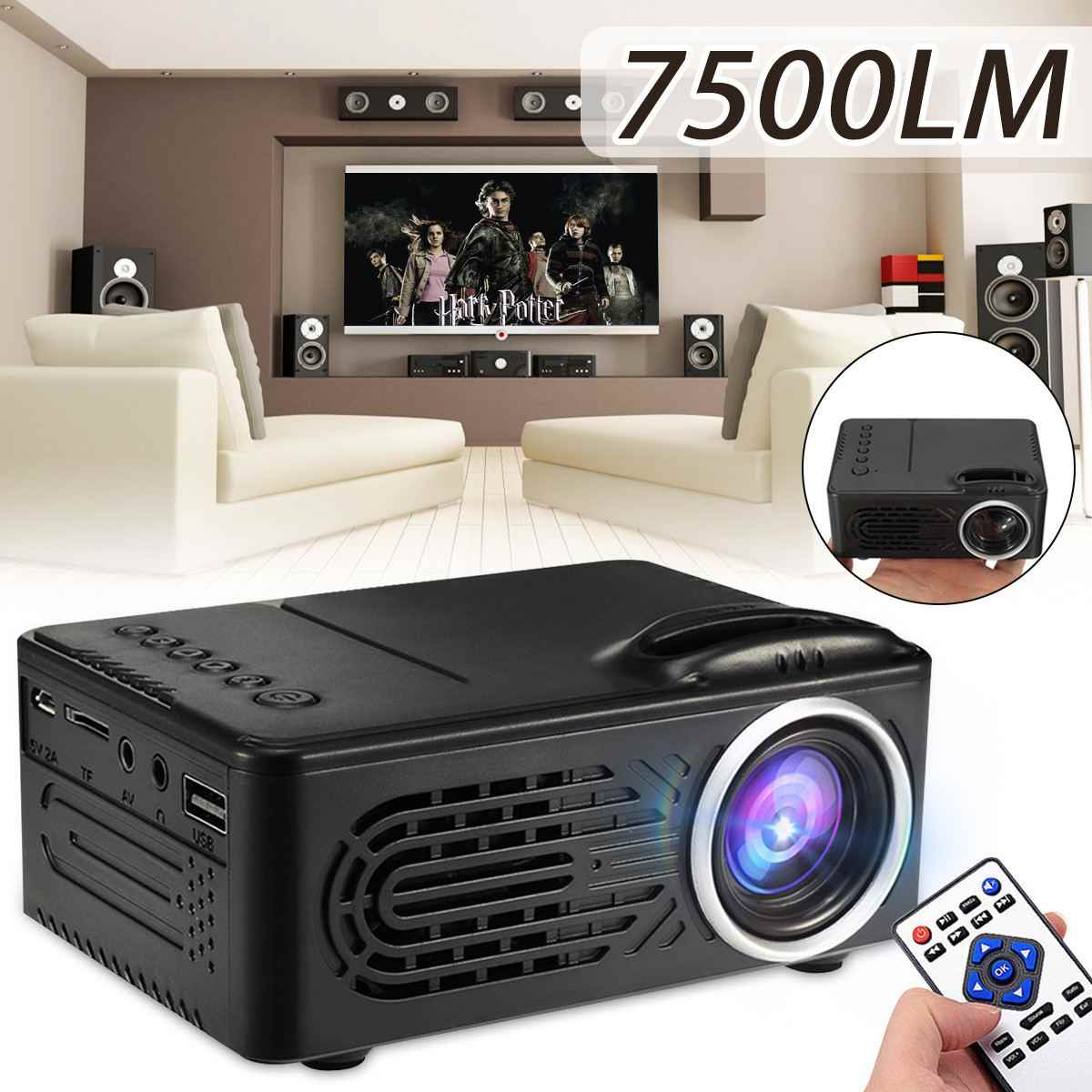 Newest 7500 Lumens 1080P HD LED Portable Projector 320x240 Resolution Multimedia Home Cinema Movie Beamer Video Theater