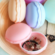 1pcs Cute Candy Color Macarons Jewelry Storage Box Portable Round Necklace Earrings Receive