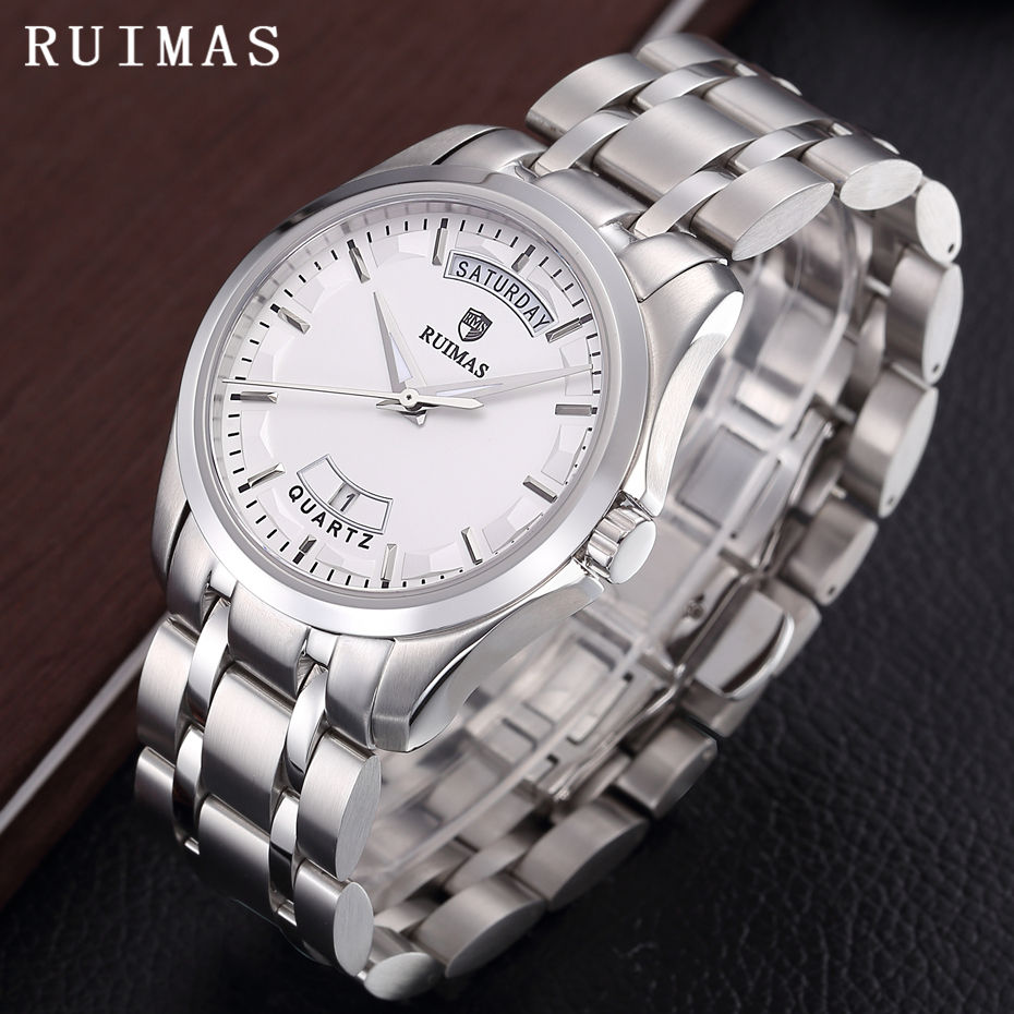 Relogio Masculino Quartz Watch Men Classic Business Watches Casual Wristwatch RUIMAS Luxury Stainless Steel Male Calendar Clock цена и фото