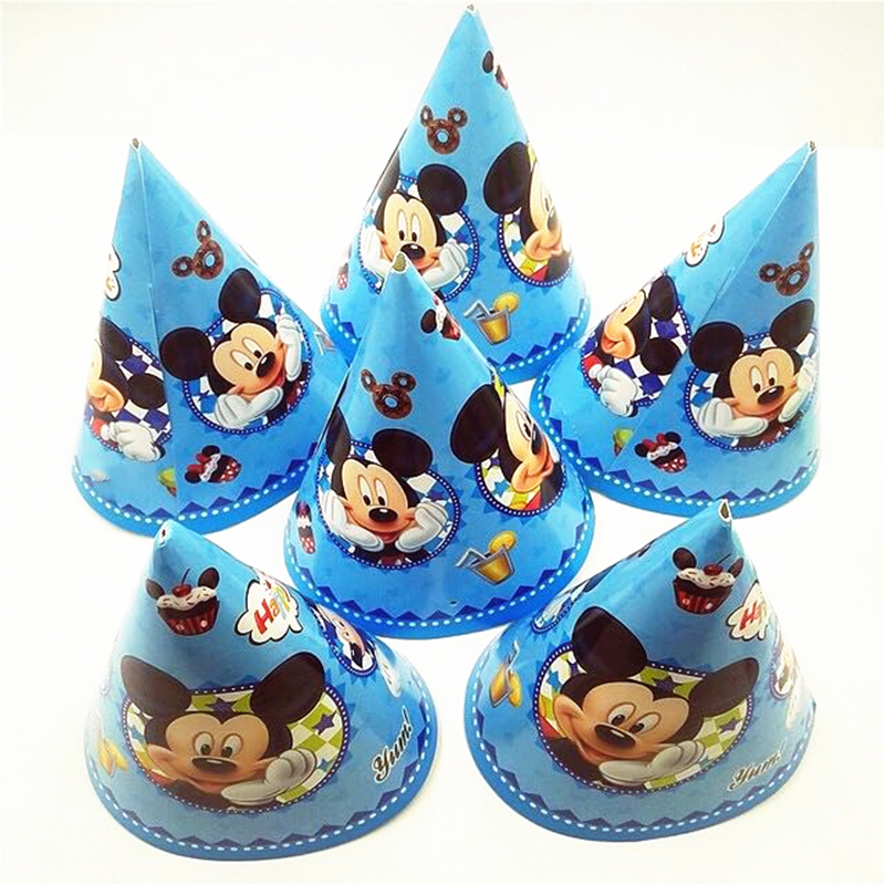 23560eb7a87b7 6pcs Mickey Mouse Paper Birthday Hats Party Supplies Baby Shower Christmas  Festival Personalized Paper Kids Caps Decorations-in Party Hats from Home  ...