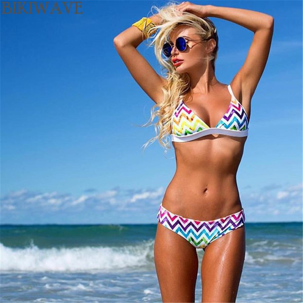 Women Sexy Bikini 2017 New Design Rainbow  Push Up Women Swimwear Retro Strappy Print Bikini Set Women Bathing Suits