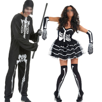 Holiday Clothing Lovers Halloween Costumes Men Skeleton Cosplay Jumpsuit Women Dress Costumes For Costume Party