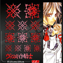 13pcs/set Red/Silver Vampire Knight 3D Metal Anime Classical Sticker For Phone Laptop Decal Stickers Kids DIY Toy Sticker 10pcs set 3d metal sticker masked rider build decal stickers for mobile phone laptop waterproof decal diy sticker toy