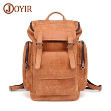 JOYIR 2019 New Mens Backpack 15.6 Laptop Daypacks Men Rucksack Genuine Leather Brown Fashion Casual Male