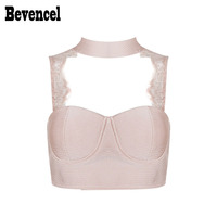 Bevencel 2017 New Women Sexy Bandage Crop Top Sleeveless Halter Backless Lace Patchwork Hollow Out Elegant