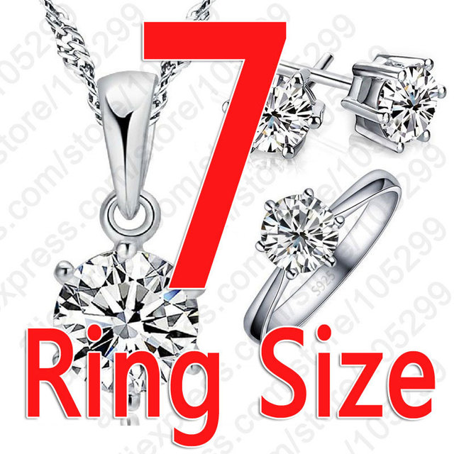 Cubic Zircon Crystal Necklace Rings Stud Earrings Set Gift