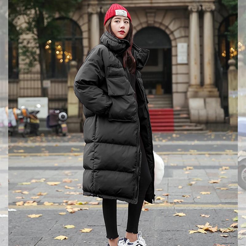 Genou 2018 Le Taille Sur Femmes Parkas Hiver Lâche Black À Debout De Manches Solide Épaissir Longues Mode Col Couleur royal Chaud Blue Coton Grande Veste red wqwvFazr