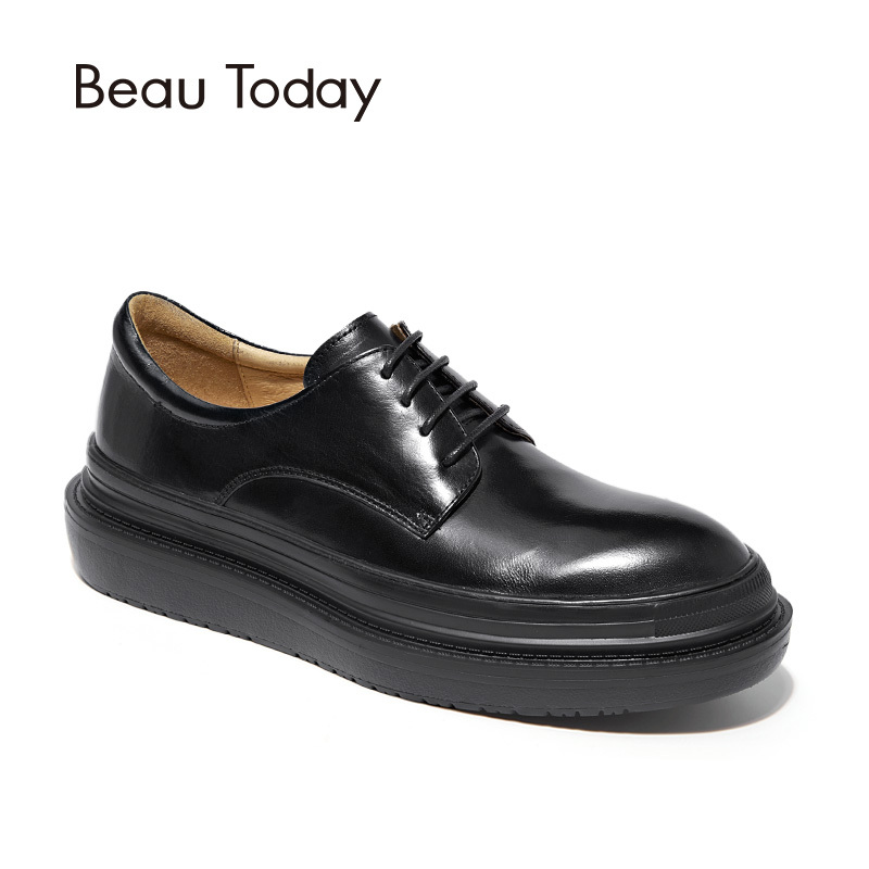 BeauToday Women Derby Shoes Top Quality Genuine Cow Leather Round Toe Flat Platform Lace Up Lady