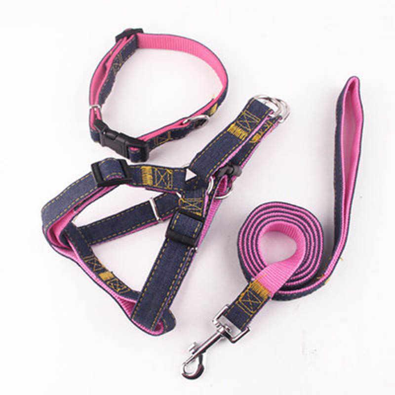 S-XL trzyczęściowy garnitur pasek na klatkę piersiową kołnierz trakcji liny do szycia tkaniny pies uprząż łańcuch pasek na klatkę piersiową grube zużycie kowbojem smycz dla psa